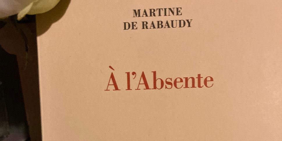 """Couverture du livre """"A l'Absente"""""""